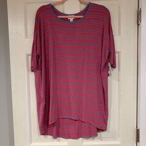 LuLaRoe red and blue striped Irma shirt L NWT